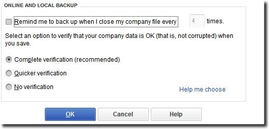 Select Complete Verification during QuickBooks Backup